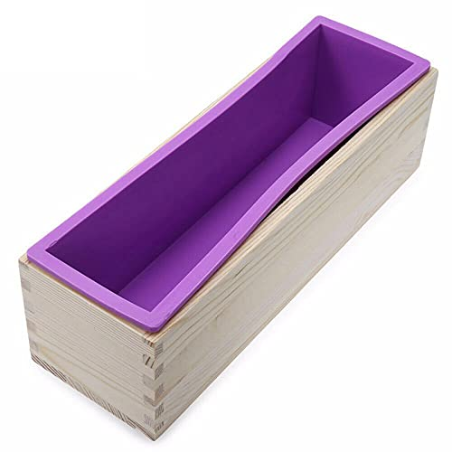 HRYMLGG 1200ml rectángulo de silicona jabón que hace el molde caja de madera hecho a mano del molde del jabón del arte del molde del pan de la torta de la tostada del molde de