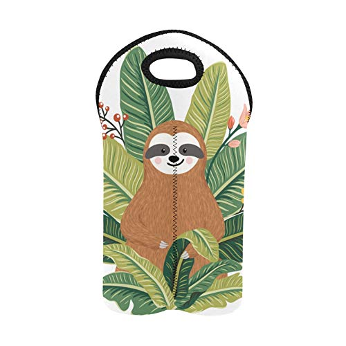 Wine Gift Bags for Wine Bottles Cute Sloth Among Flowers and Leaves Wine Tasting Bags Double Bottle Carrier Totes Thick Neoprene Wine Bottle Holder Keeps Bottles Protected