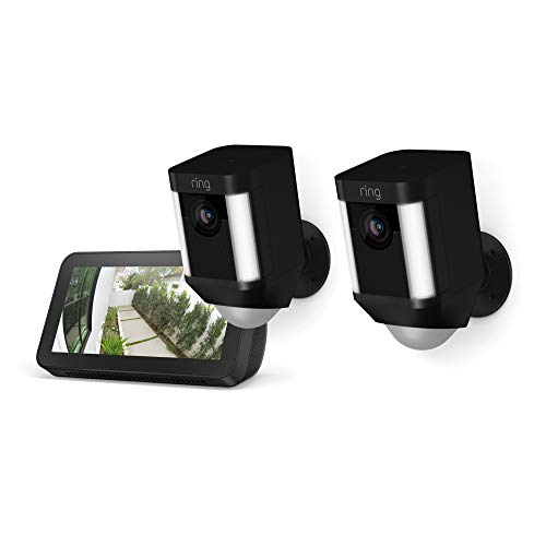 Ring Spotlight Cam Battery 2-Pack (Black) with Echo Show 5 (Charcoal)