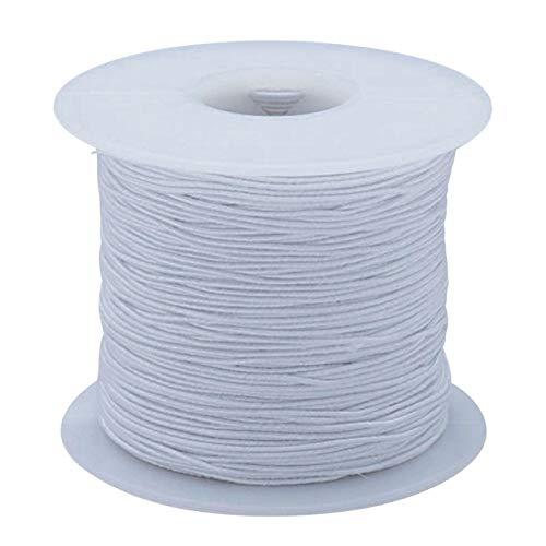 White Elastic Cord, 100 Yards - Medium
