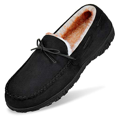 MIXIN Mens Memory Foam Slippers Size 9, Mens Home Slippers Comfy House Shoes with Comfort Suede Fabric and Plush Fleece Lining Black