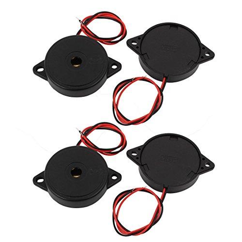 Aexit 4Pcs DC 3-24V 12V 2-Wired 85dB Sound Passive Electronic (model: R2573IVVIII-2163SW) Buzzer Alarm Black