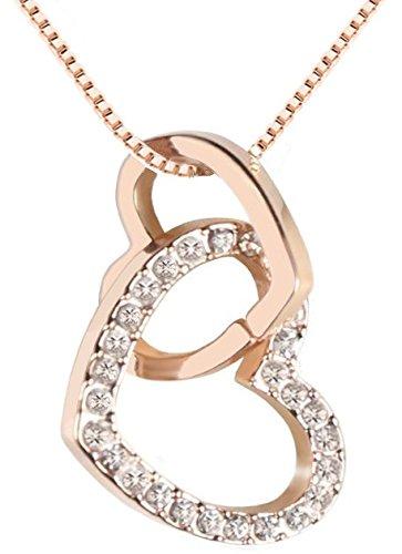 QUADIVA C! Collar Corazón para Mujer Collar con Colgante Two Hearts (color: oro rosa, chapado en oro) adornado con cristales de Swarovski®