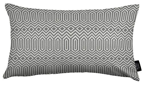 McAlister Textilien Colorado Kissenhülle in Grau Maße 60 x 40 cm Kissenhülle im gewobenen geometrischen Jacquard Muster Deko Kissenhülle im Ethno-Design für Sofa, Couch