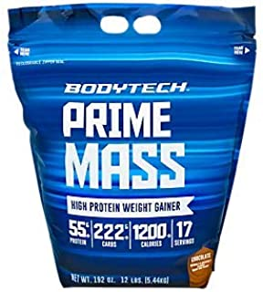 BodyTech Prime Mass High Protein Weight Gainer with 55 Grams of Protein per Serving to Support Muscle Growth Performance B...