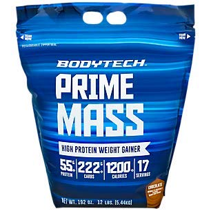 BodyTech Prime Mass High Protein Weight Gainer with 55 Grams of Protein per...