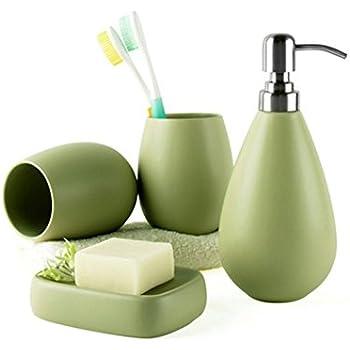 Portasaponetta Portascopino 4 Pezzi BM 4088 Set di Accessori da Bagno in Ceramica Portaspazzolino Verde Dispenser