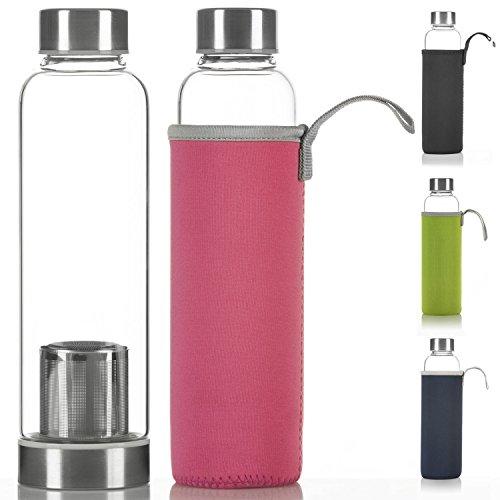 Dimono Deluxe Trinkflasche aus Glas 600ml - Sport Glasflasche Wasser-Flasche; bruchsicher mit Edelstahl Filter-Einsatz & Nylon Thermo-Hülle (Pink mit Filter)