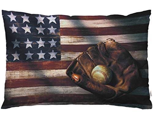 EKOBLA Kissenbezug mit amerikanischer Flagge, Baseball-League-Ausrüstung, Grungehandschuh, Fledermaus, Sportthema, Lendenkissen, Kissen für Sofa, Couch, Bett, Standardgröße, 50,8 x 76,2 cm