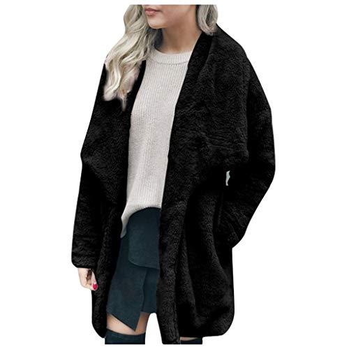 PLOT Damen Mantel Winter Elegant Warm Faux Fur Kunstfell Cardigan Einfarbig Trenchcoat Jacke Mantel Coat Wintermantel Winterjacke Outwear