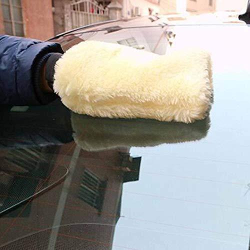 Car Microfiber Plush Mitt Car Wash Glove Mitten Washing Cleaning Brush Tools Auto Detailing Brushes Sponge Car Washing Tool;White Candybarbar
