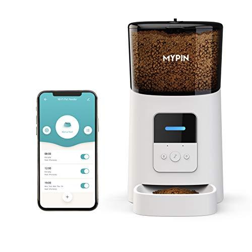 MYPIN 6L Comedero Automático para Gatos y Perros Dispensador de Comida con Grabación de Voz, Control de Las Porciones, Hasta 6 Comidas por Día y Control Remoto de Aplicación WiFi ( Blanco )