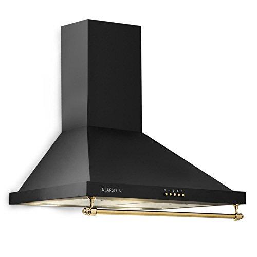 Klarstein Montblanc - Campana extractora de pared, 3 niveles, Extracción hasta 610 m³/h, Potencia 165 W, Juego montaje incluido, Tubo salida de aire, Ancho 60 cm, Filtro de aluminio, Luz LED, Negro