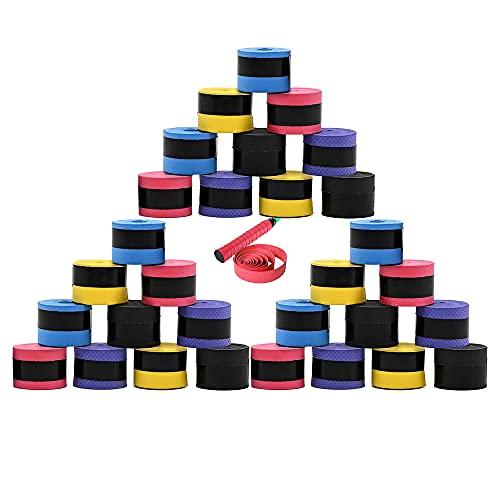 QUUPY 30 piezas de golpecitos de raqueta de tenis con agarre elástico para agarre antideslizante y absorbente, multicolor