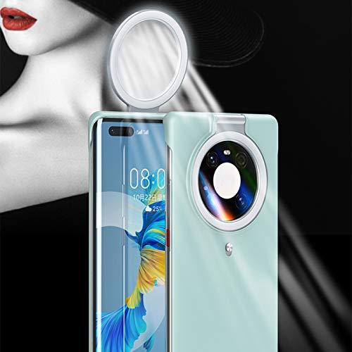 Caso del Anillo de Selfie, Llenar La Caja del Teléfono Ligero, Selfie Beauty Ring Flash Funda para Teléfono Móvil para Transmisión en Vivo de Youtube Azul,GreeniPhone12ProMAX