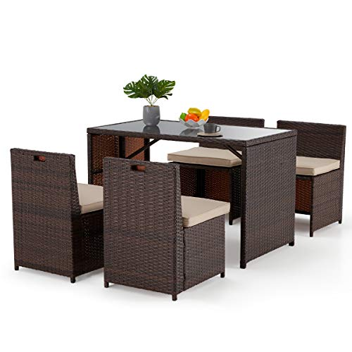 EROMMY 5 Pieces Patio Dining Set,Space Saving Rattan Chairs with Glass Table Outdoor Patio Furniture, Patio Table and Chairs with Seat Cushion Suiltable for Backyard, Porch, Garden, Poolside, Balcony