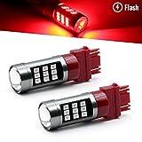 Syneticusa 3157 Red LED Stop Brake Flash Strobe Rear Alert Safety Warning 33-LED Light Bulbs