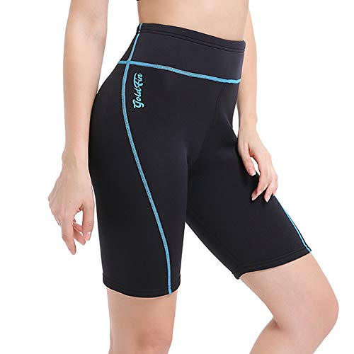 GoldFin Women's Wetsuit Shorts Pants, 2mm Neoprene Shorts Keep Warm for Swimming Water Aerobics Surfing SS013 (Black/Blue, M)