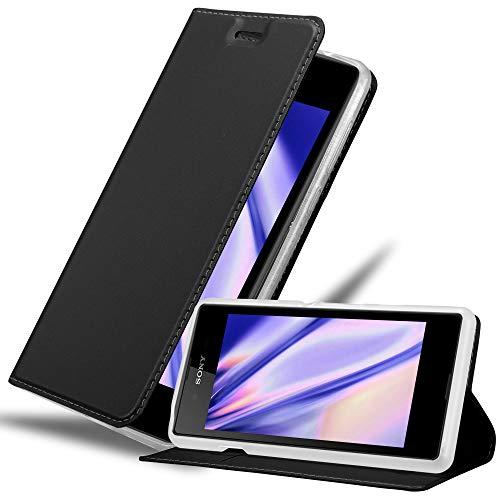 Cadorabo Hülle für Sony Xperia E3 - Hülle in SCHWARZ – Handyhülle mit Standfunktion & Kartenfach im Metallic Erscheinungsbild - Hülle Cover Schutzhülle Etui Tasche Book Klapp Style