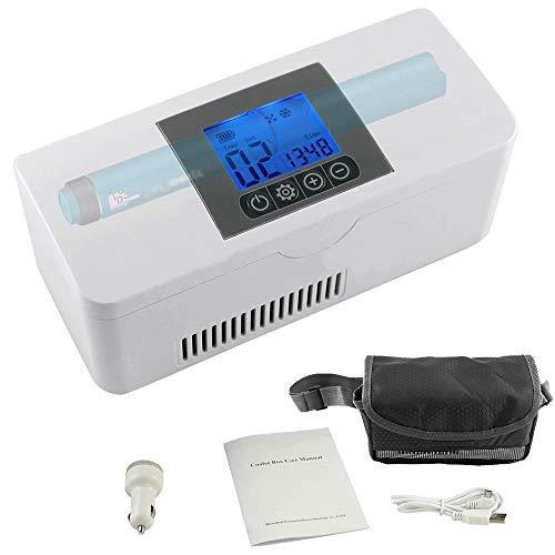 SHENGY Tragbare Insulin Kühlbox, für Medikamente Mini Intelligente Elektrische Kühlschrank Kühltasche, Thermostat unter 26 ° C, mit KFZ USB Ladekabel, für Reise&Haushalt