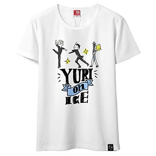 Yuri on Ice Verano Casual Cuello Redondo Manga Corta Flojo Impreso con un patrón Hombres y Mujeres Tshirt