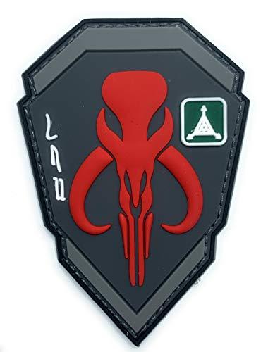 Mandalorian Boba Fett Emblem Star Wars Bounty Hunter - Funny Tactical Military Morale PVC Rubber Patch Hook Backing(Red)