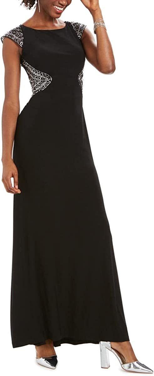 Vince Camuto Womens Beaded Embellished Evening Dress