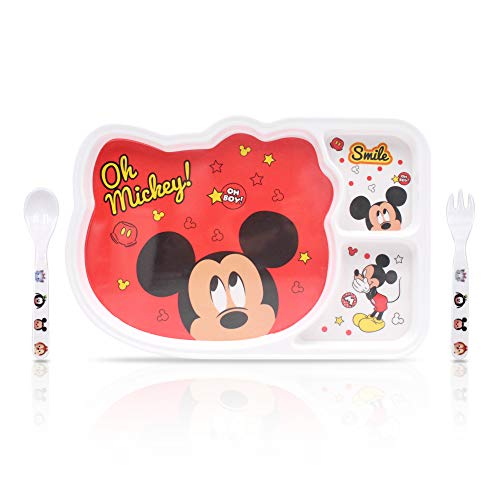 Finex 3 Pcs Set Mickey Mouse Melamine Resin Divided Plate Kids Dinnerware Dinner Meal Dishes Feeding Set with Matching Spoon and Fork Utensil Food Grade Safe Flatware for children toddler girls boys