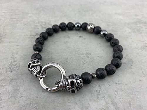 Armband mit Ringverschluss schwarz matt black Onyx oder Lava Perlen Lavasteine mit Skull Totenkopf Schädel Edelstahl für Damen u. Herren Bikerschmuck Rockerschmuck A31