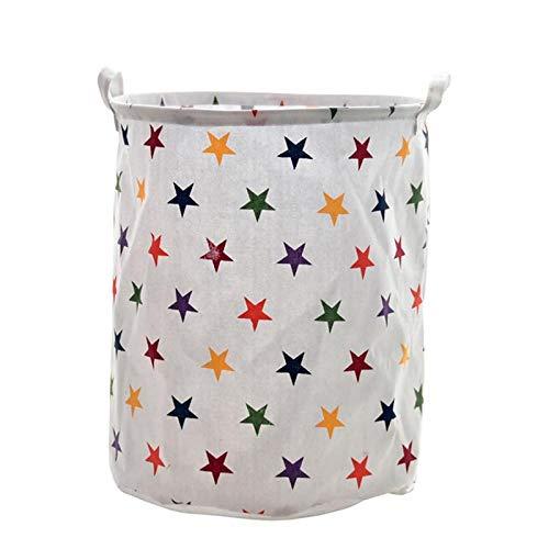ZXXFR Canvas Wasmand, gekleurde 5-sterren opvouwbare wasmand canvas opbergmand Barrel creatieve Kids organisator opslag vat container container home verbruiksgoederen