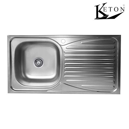 KETON Edelstahleinbauspüle 86 x 43,5cm mit Abtropffläche Rechts Küchenspüle Edelstahl Spüle 1 Becken