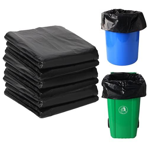 YRWL Bolsa de basura grande, grande y gruesa bolsa de basura de plástico negro, forro de basura resistente, se puede utilizar en hoteles de jardín, negro Espesar 6080 (50 piezas)