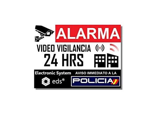 Egero - Pegatinas disuasorias x8 Antirrobo para Casa, Edificio, Comercio, Garaje. Pegatinas de videovigilancia de Calidad Profesional (Gran Policia)