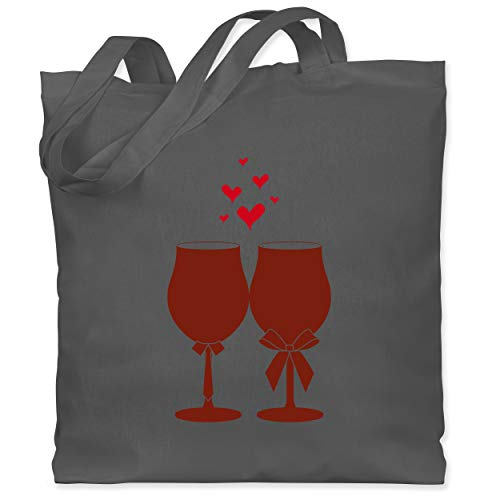 Shirtracer Symbole - Weingläser Wein - Unisize - Dunkelgrau - jutebeutel wein - WM101 - Stoffbeutel aus Baumwolle Jutebeutel lange Henkel