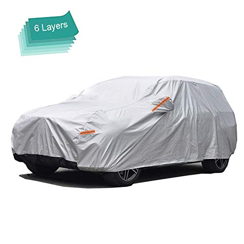 GUNHYI Outdoor Car Covers for Automobiles Waterproof All Weather, 6 Layer Heavy Duty Cover Sun Uv Protection, Universal Fit Hatchback (Length 165-178inch)
