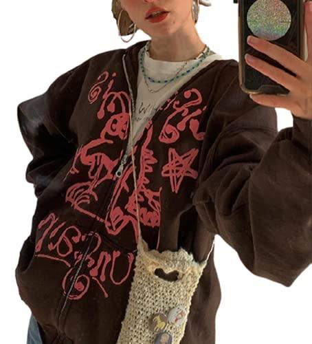 Mujeres Y2k Sudaderas 90s E-Girl Vintage Harajuku Sudaderas con capucha Casual de manga larga Zip Up Oversize Track Sports Jacket, K-café, XL