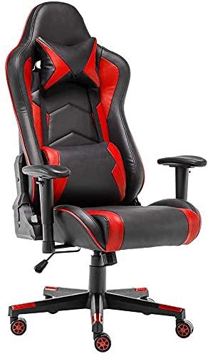 STmeng Comfort X2 Ergonomisch Gaming Stuhl, Höhenverstellbarer Bürostuhl Schreibtischstuhl Kopfstütze Verstellbar Rückenstütze Armlehne Kunstleder Atmungsaktiv Sitzkissen Computer Chair, Rot