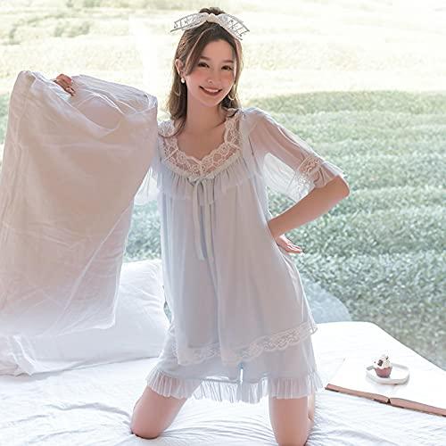 STJDM Camisón,Pijamas de Verano para Mujer, camisón de Hadas, Conjuntos de Pijama de Encaje de Malla, Ropa de casa Bonita para Mujer, Talla única, Azul