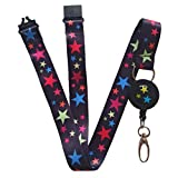 Correa para el cuello SpiriuS para tarjeta de identificación, con clip de seguridad, diseño original, color negro, color flowers retractable reel only