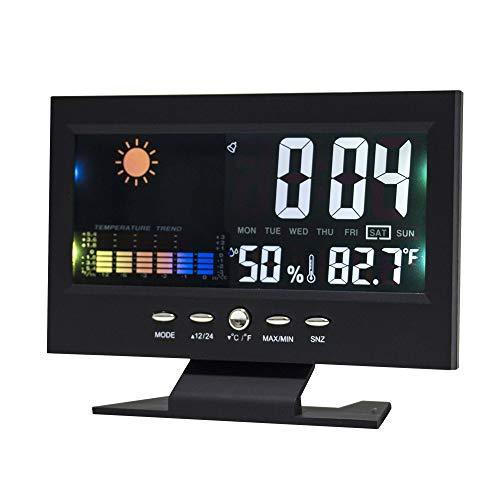 """Lancoon Digitaler Wecker - 5,5""""Bildschirm Innenthermometer Hygrometer Mit Zeit Woche Datum Temperatur Luftfeuchtigkeitsanzeige - AC09B"""