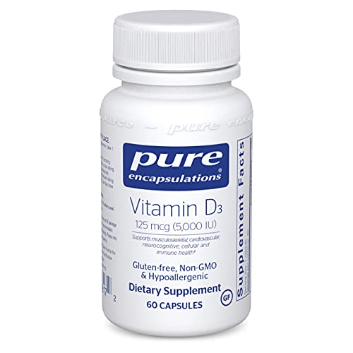 Pure Encapsulations Vitamin D3 125 mcg (5,000 IU) | Supplement to Support Bone, Joint, Breast, Prostate, Heart, Colon and Immune Health* | 60 Capsules