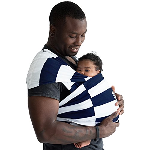 Baby K'tan Print Baby Wrap Carrier, Infant and Child Sling-Navy Stripe, Women up to 0 (XX-Small)....
