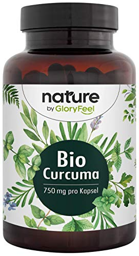 GloryFeel® Bio Kurkuma - 240 Vegane Kapseln - 4602mg Original Bio Curcuma + Bio Schwarzer Pfeffer - Höchster Curcumin-Gehalt (355,8mg) + 12mg Piperin - Laborgepfrüfte Herstellung in Deutschland