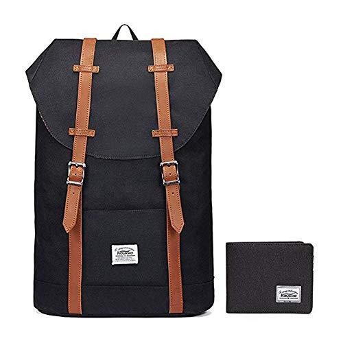"Lightweight Outdoor Backpack, KAUKKO Travel Casual Rucksack Laptop Daypack for 15"" (BLACK[2PC])"
