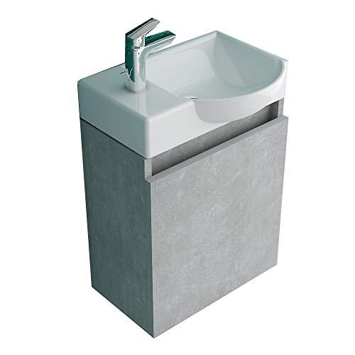 Badmöbel Waschplatz von Alpenberger Becken aus Sanitärkeramik Unterschrank vormontiert in Grau Matt I Waschtisch Badezimmer Gäste WC Lösung Möbel Set