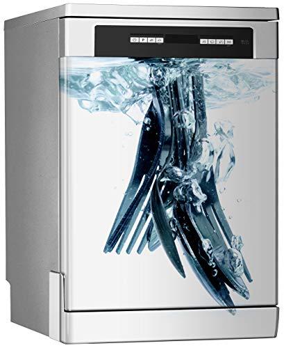 Megadecor decoratief vinyl voor vaatwasser, afmetingen standaard 67 cm x 76 cm, vaatwasser, keukengerei in water en luchtbellen.