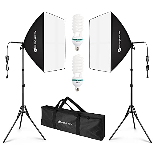 Yesker Softbox Photography Lighting Kit Continuous Photo Studio Equipment with 20x28 inch Reflector and 5500K Bulbs (2 Soft Boxes)