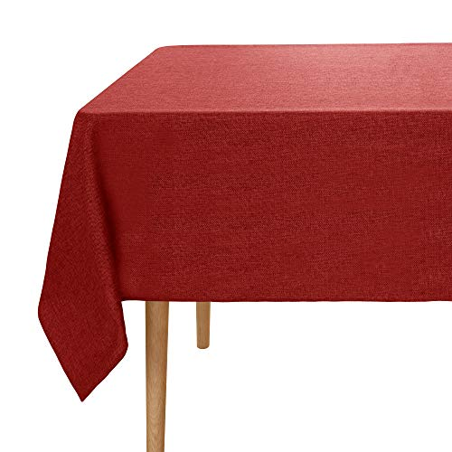 UMI. Essentials - Mantel Mesa Rectangular de Efecto Lino 140x240cm Rojo Oscuro
