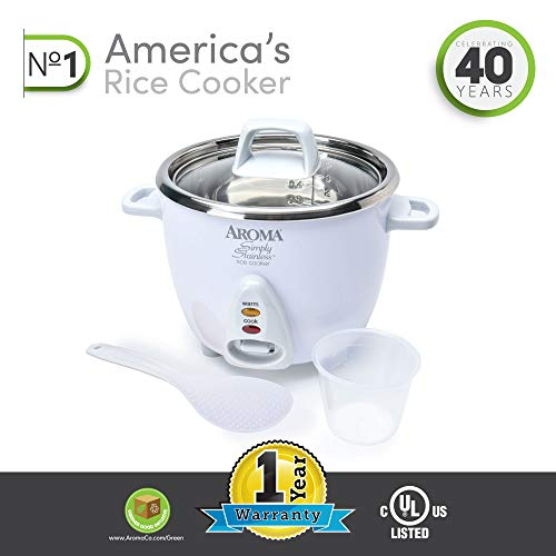 Aroma ARC-753SG 3-Cup Uncooked, 6-Cup Cooked, Simply Stainless Rice Cooker