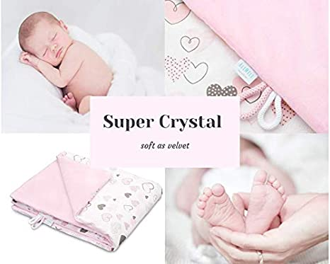 hoch Qualit/ät Pl/üschdecke perfekt f/ür Babys 100/% Baumwolle Super Crystal EliMeli Babydecke Kuscheldecke Krabbeldecke 75x100 super weichem Polar Fleece F/üllung Blue - Grey Stars II